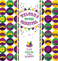Invitation card on seamless pattern of moustaches vector image