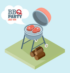 Isometric barbecue flat vector