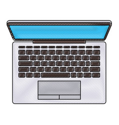 laptop computer on top view in colored crayon vector image