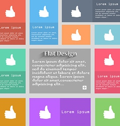 Like Thumb up icon sign Set of multicolored vector image