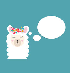 little cute llama for card and shirt design vector image
