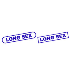 Long sex blue rectangle stamp with unclean surface vector