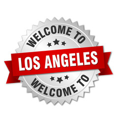 Los angeles 3d silver badge with red ribbon vector
