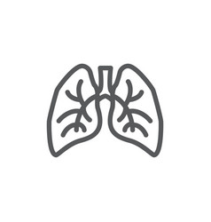 lungs line icon on white background vector image