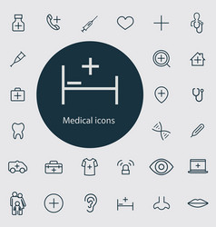 Medical outline thin flat digital icon set vector