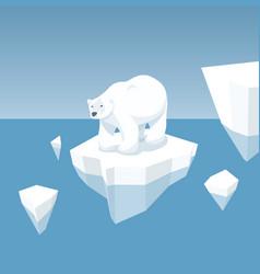 Melting iceberg and white bear vector