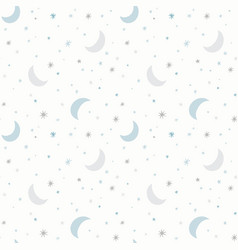 Moon and stars pattern night sky cosmos vector