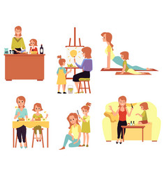 Mother and daughter joint recreation set flat vector