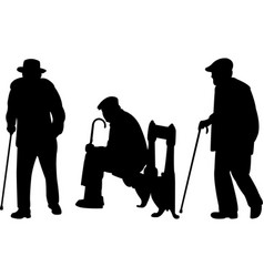 Old men with cane silhouettes vector