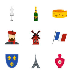 Paris icons set flat style vector