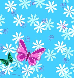 Pink butterfly and flowers seamless pattern vector image