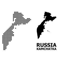 Pixelated mosaic map kamchatka peninsula vector
