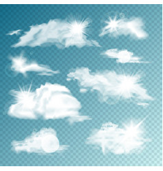 realistic clouds with sun collection isolated vector image
