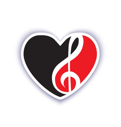 red and black emblem on a musical theme vector image