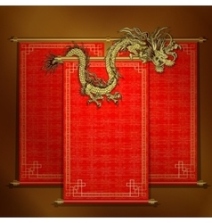 Red scroll with chinese dragon golden vector