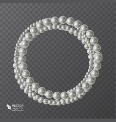 Round frame of realistic pearls decoration for vector