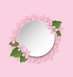 round frame with sakura blossom and space for text vector image