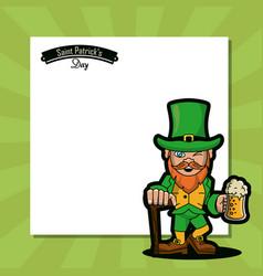 saint patricks elf cartoon card vector image