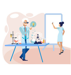 scientist professor in laboratory at work vector image