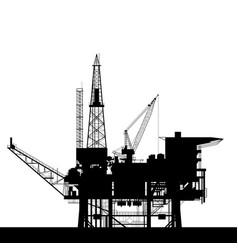 sea oil platform icon - rig platform silhouette vector image