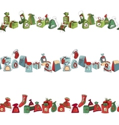 Seamless horizontal pattern brush with Christmas vector image