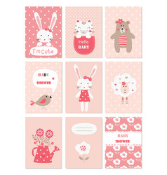 Set of baby cards with cute animals and flower vector