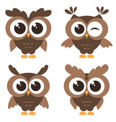 set of brown funny owls isolated on white vector image