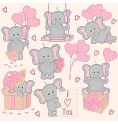 Set of cute valentine elephant part 2 vector