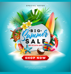 summer sale design with flower beach holiday vector image