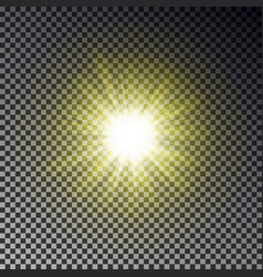 sun ray light isolated on checkered background tr vector image
