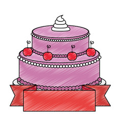 Sweet and delicious cake with ribbon vector