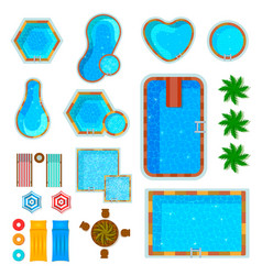 swimming pools top view set vector image