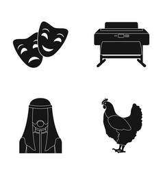 theatrical masks printing equipment and other web vector image