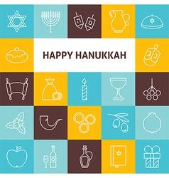 Thin Line Art Happy Hanukkah Jewish Holiday Icons vector