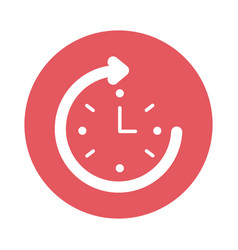 Time clock with arrow around block style icon vector