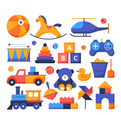 toys - set flat design style elements vector image