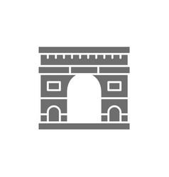 triumphal arch landmark paris france grey vector image