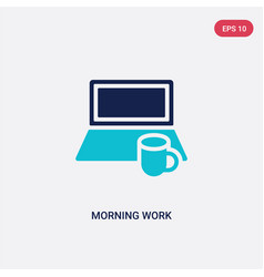 Two color morning work icon from computer concept vector