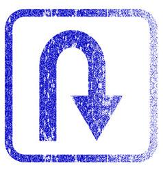 U turn framed textured icon vector