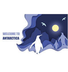 Welcome to antarctica poster paper cut vector