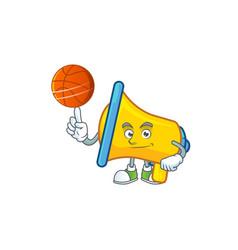 With basketball yellow loudspeaker cartoon vector