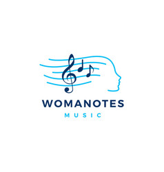 woman notes music logo icon vector image