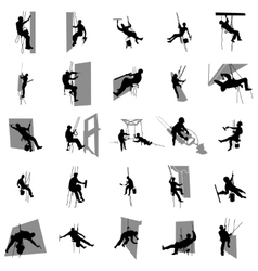 Worker climber silhouette set simple style vector
