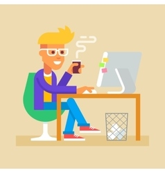 Young man is sitting at desk with computer vector image