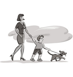 Young skinny with baby and dog during a walk vector