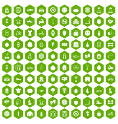 100 fitness icons hexagon green vector image vector image