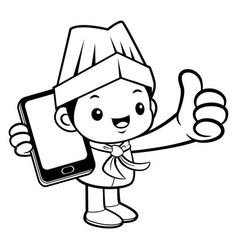 black and white funny chef mascot is holding a vector image