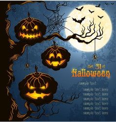 Blue grungy halloween background with pumpkins vector image vector image