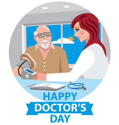 card for happy doctors day vector image