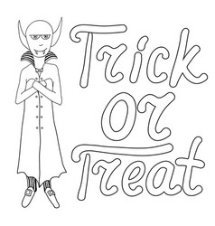 cartoon vampire and words trick or treat isolated vector image